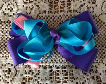 One (1) Purple, Blue, and Pink Handmade Hair Bow