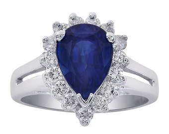 1.30 Carat Blue Sapphire with Diamond Ring 14K White Gold