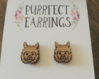 Cute wooden Alpaca bamboo earrings