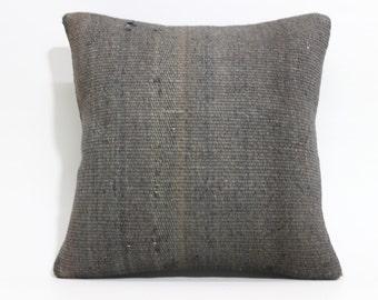Anatolian Kilim Pillow Decorative Kilim Pillow 16x16 Vintage Kilim Pillow Throw Pillow Overdyed Kilim Pillow SP4040 1534