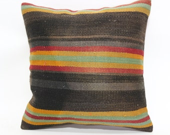 Turkish Kilim Pillow Throw Pillow Cushion Cover 20x20 Striped Kilim Pillow Throw Pillow Large Pillow Cushion Cover SP5050-1521