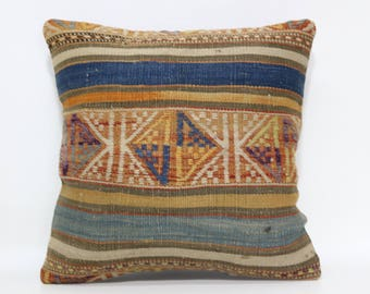 16x16 Embroidered Kilim Pillow Ethnic Pillow 16x16 Decorative Kilim Pillow Home Decor Bed Pillow Striped Pillow Cushion Cover  SP4040-2395