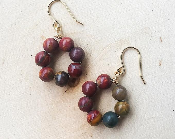 Red Creek Jasper Earrings, Healing Crystal Jewelry, Natural Stone, Gemstone, Gold Hoops, Bohemian, Gifts For Her, Bridesmaid Gift, Handmade