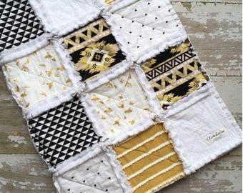 Aztec Rag Quilt - Rag Quilt - Minky Blanket - Toddler Crib Quilt - Gold Black White Baby Quilt