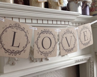 Handmade Vintage Style Love Wedding Banner Garland Bunting Photo Prop White Cream Or Craft Card