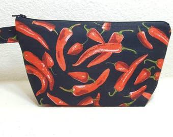 Southwestern, hot pepper, chili pepper makeup bag, cosmetic bag
