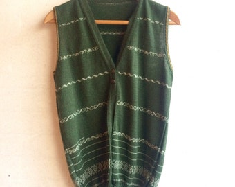 Gorgeous wool, green, sleeveless cardigan
