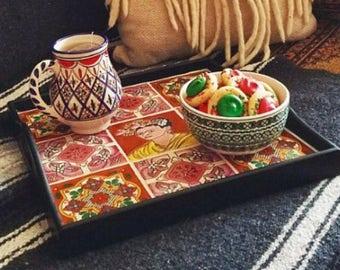 Frida Kahlo Boho Pink Tray / Coffee Table Tray / Serving Tray / Mexican Platter/ Ottoman Tray / Breakfast Tray / Vanity Tray / Bar Cart Tray