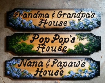 Grandma and Grandpas House Signs, Nana and Papas House PopPops House,  Carved Wood Signs, Personalized House Signs,