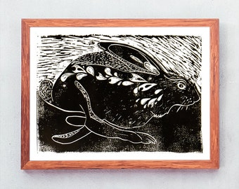 Rabbit on the run. Art print.  Linocut / hand printed