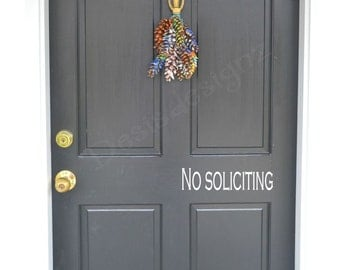 No soliciting Vinyl Door Decal personalized door decal vinyl no soliciting front door decal vinyl door lettering vynil decal front door