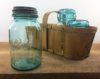 SALE***Ball Perfect Mason Jar with Zinc Lid//Blue Canning Jar***Regular Price 14.00