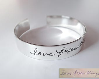 Personalized Actual Handwriting Cuff Men's Bracelet 1/2 inch- Personalized Bangle Bracelet- Personalized Men Bracelet-Custom Bangle Bracelet