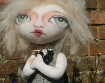 Handmade art cloth doll fairy OOAK- Moth fairy