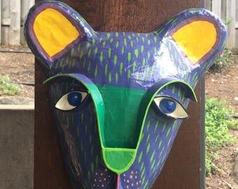 Vintage Paper Mache 3D Animal Mask Sculpture Wall Hanging by Artist Gina Truex