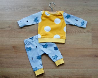 Baby set, trousers and t-shirt, yellow dots and foxes, 0-3 months, OEKO-TEX