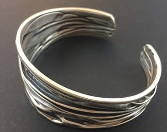 Vintage sterling adjustable cuff bangle bracelet