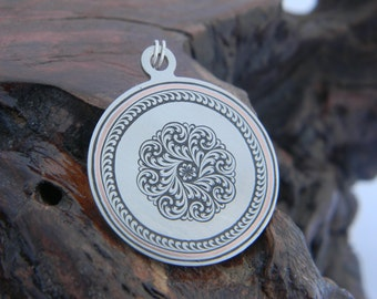 Hand Engraved English Scroll Design Steel and Copper Pendant
