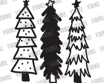 Svg - Christmas Tree SVG - Hand Drawn Christmas Trees - Hand Drawn Christmas Tree Clip art - Christmas Tree Cut File -Christmas Tree