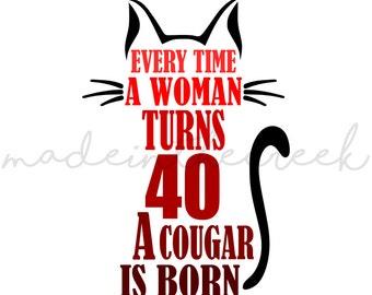 Turning 40, Woman, Cougar Is Born, Birthday, SVG File, Digital Print, PNG, PDF, Cut File, Silhouette, Cricut