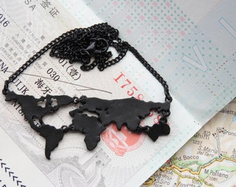 World map travel necklace - black colored - Wanderlust - travel gift - globetrotter - explore - adventure!