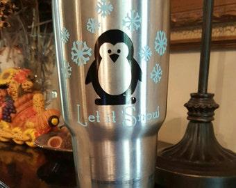 Let it snow Penguin vinyl decal