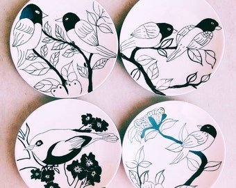 Set of bird (4 plates)