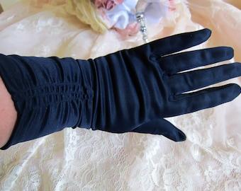 Vintage gloves, mid length gloves, navy gloves, evening gloves, vintage wedding gloves, rockabilly gloves, 1950s gloves, prom gloves,