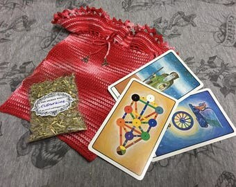 Tarot Golden Dawn + Bag + Magic herbs for cleansing - Tarot, magic, witch, wicca,