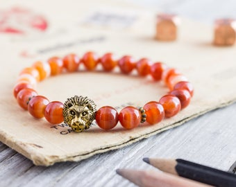8mm - Orange agate stone beaded gold Lion head stretchy bracelet, yoga bracelet, mens bracelet, womens bracelet