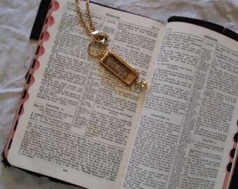 Vintage Scripture Pendant Necklace