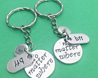 Silver distance Gift, long distance keychain, distance charm pendant, no matter where, handstamped keychain,across the miles,gift for friend