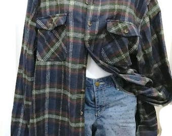 Fantastic Flannel Plaid Shirt Unisex Size XLT Green, Blue, Red and White Colors From SCHMIDT Workwear 100 percent cotton