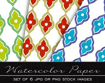 Moroccan Patern, digital watercolor paper, drawing, illustration, print, printable, download, scrapbooking, JPG