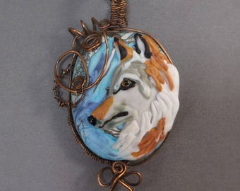 Wolf Dog Lampwork Glass Wire Wrapped Pendant