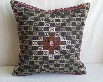 "18""×18""inches, Decorative Kilim Pillow, Cushion Cover, Throw Pillow, Tribal Pillow, Turkish Kilim Pillow, Kilim Pillow, Ethnic Pillow, Boho"