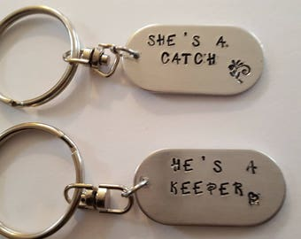 Companion keyrings //She's a Catch /He's a Keeper // Quotes from Harry Potter //Fun Couples Gift