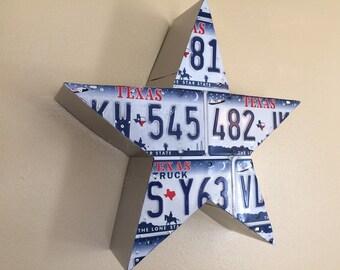 Texas License Plate Star 3D Western Decor