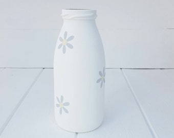 Hand Painted Bottle with Flower Detail - Made to order in a choice of colours and sizes