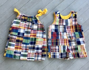 Plaid patchwork dress matching skirt romper shorts pants mother daughter match family matching outfits brother sister set mother son match