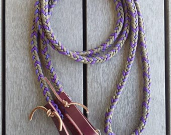 Hand braided purple and olive green 9ft reins