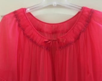 Vintage Tosca Peignoir Robe / 1960's Vintage Lingerie / Tosca Sheer Robe / Tosca Red Poignoir Robe / Vintage Lingerie / Tosca Lingerie