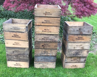 Wooden Fruit Crate Blueberry Crate Wood Box Wood Crate Orchard Vintage Crate Wooden Crate  Blueberry Box