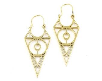 Geometric Brass Earrings, Triangle Earrings, Alchemy Earrings, Minimalist, Modern Brass Earrings, Festival Jewelry, Gypsy Earrings, Ethnic,