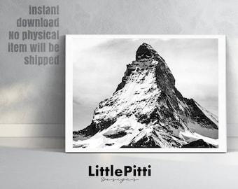 Mountains print, minimalist print, landscape print, black white print, mountain wall print, the mountains art, modern art print, nordic art