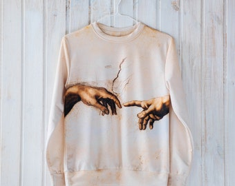 Unique unisex sweatshirt, The Creation of Adam, by Michelangelo, gift for her gift for him gift idea