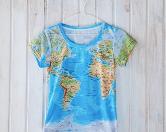 World Map T Shirt Globe Print, All Over Print Design, Geography T Shirt, gift for her gift for him