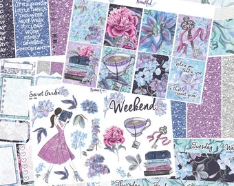 Secret Garden - Ultimate Weekly Kit - Removable Vinyl (Glossy or Matte) - Erin Condren Vertical Life Planner Stickers