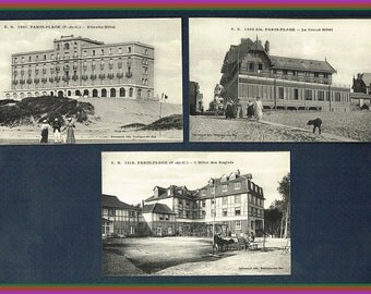 3 Vintage French Hotel Postcards