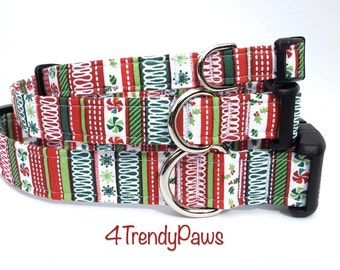 Ugly Sweater Collar, Christmas Collar, Holiday Collar, Red Green White, Boy Dog Collar, Girl Dog Collar, Small Dog Collar, Cat Collar